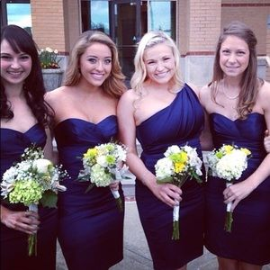 David's Bridal Dresses - Navy Strapless Bridesmaid Dress